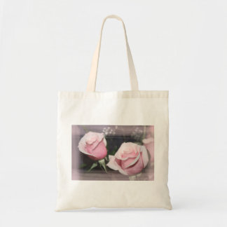 Faded pink rose image sketchy overlay budget tote bag