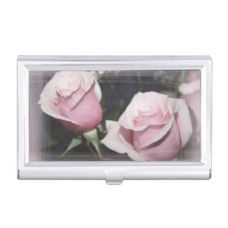 Faded pink rose image sketchy overlay business card cases