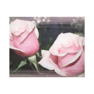 Faded pink rose image sketchy overlay canvas print