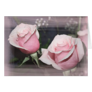 Faded pink rose image sketchy overlay card