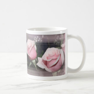 Faded pink rose image sketchy overlay classic white coffee mug