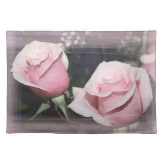 Faded pink rose image sketchy overlay cloth placemat