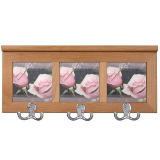 Faded pink rose image sketchy overlay coat racks
