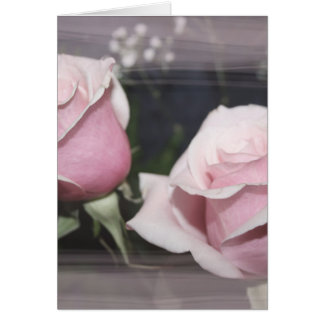 Faded pink rose image sketchy overlay greeting card