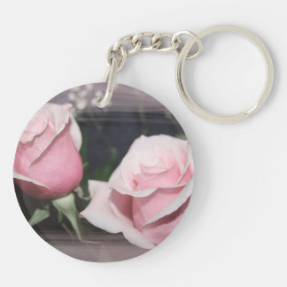 Faded pink rose image sketchy overlay keychain