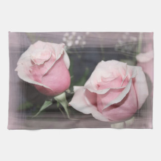 Faded pink rose image sketchy overlay kitchen towel