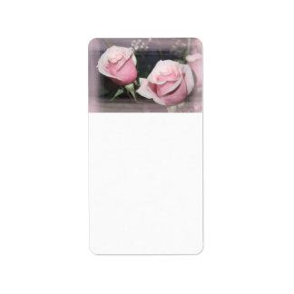 Faded pink rose image sketchy overlay address label