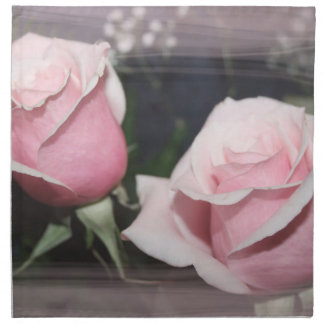 Faded pink rose image sketchy overlay napkin