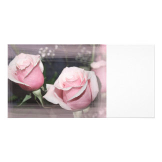 Faded pink rose image sketchy overlay photo card