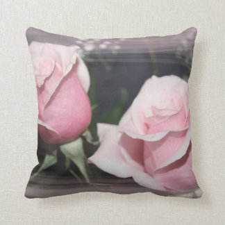Faded pink rose image sketchy overlay pillow