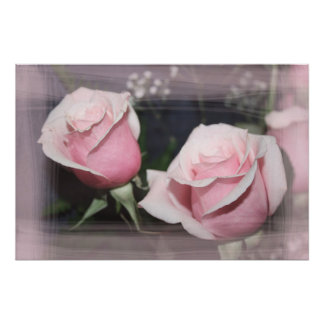 Faded pink rose image sketchy overlay poster