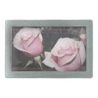 Faded pink rose image sketchy overlay rectangular belt buckle