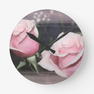 Faded pink rose image sketchy overlay round wall clock