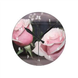 Faded pink rose image sketchy overlay round wallclock