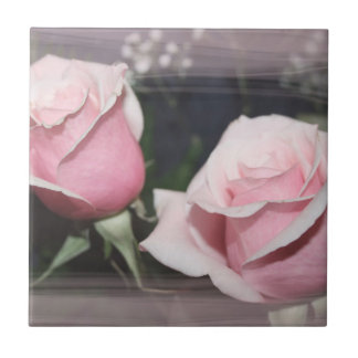 Faded pink rose image sketchy overlay small square tile