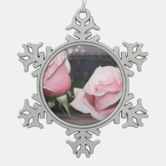 Faded pink rose image sketchy overlay snowflake pewter christmas ornament
