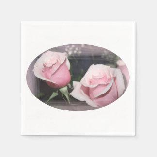 Faded pink rose image sketchy overlay standard cocktail napkin