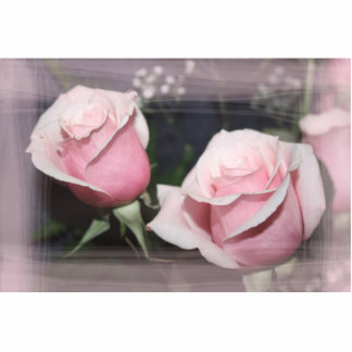 Faded pink rose image sketchy overlay standing photo sculpture