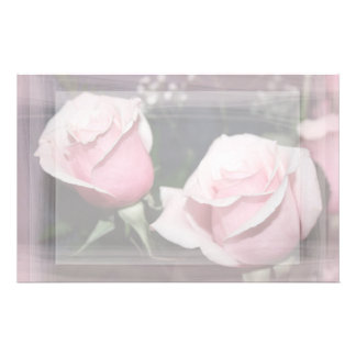 Faded pink rose image sketchy overlay stationery