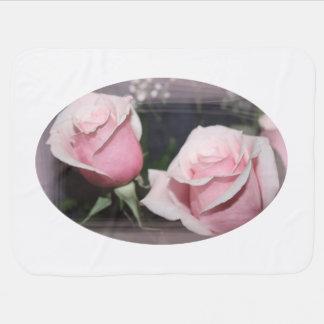 Faded pink rose image sketchy overlay stroller blankets