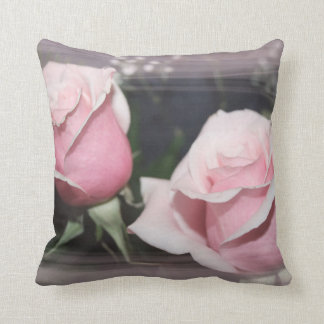 Faded pink rose image sketchy overlay throw pillow
