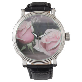 Faded pink rose image sketchy overlay watches