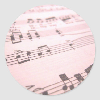 Faded Pink Sheet Music Classic Round Sticker