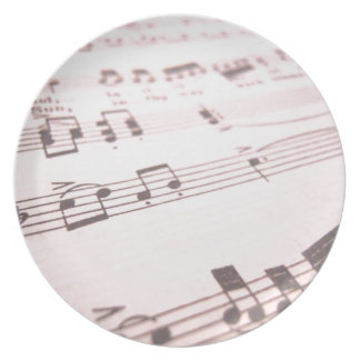 Faded Pink Sheet Music Dinner Plate
