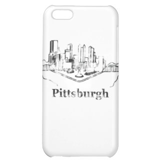 Faded Pittsburgh City Skyline Logo Cover For iPhone 5C