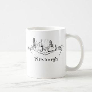 Faded Pittsburgh City Skyline Logo Classic White Coffee Mug