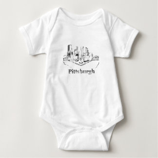 Faded Pittsburgh City Skyline Logo Infant Creeper