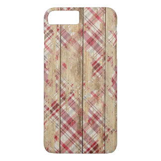 Faded Plaid and Wood iPhone 7 Plus Case