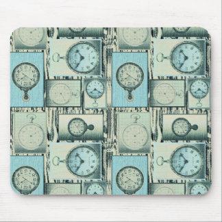 Faded Pocket Watches Aqua Mouse Pad