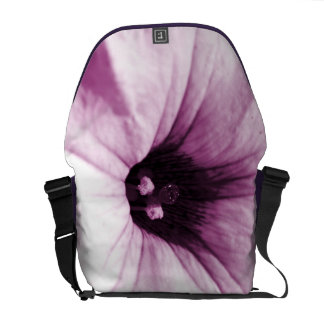 Faded purple flower macro picture courier bag