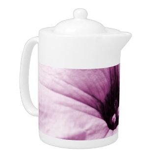 Faded purple flower macro picture teapot