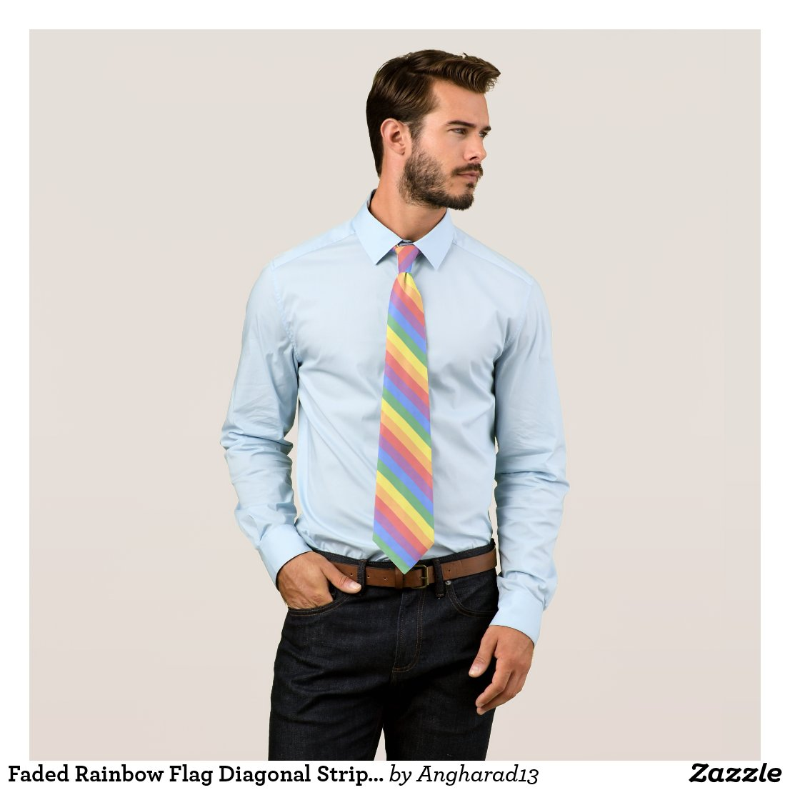 Faded Rainbow Flag Diagonal Stripe LGBT Pride Tie