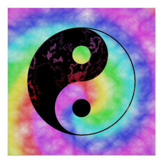 Faded Rainbow Yin Yang Poster