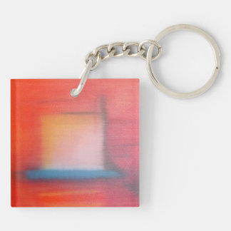 Faded Red Abstract Oil Painting Keychain