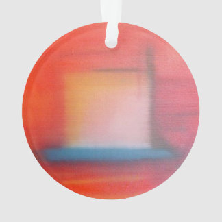 Faded Red Abstract Oil Painting Ornament