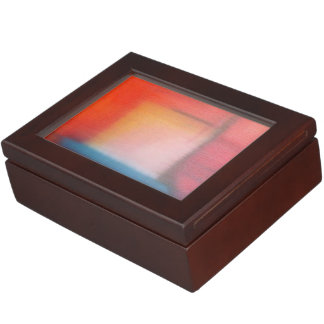 Faded Red Abstract Oil Painting Memory Box