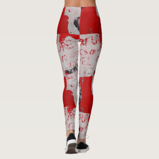 Faded Red and White Graffiti with African Stencil Leggings