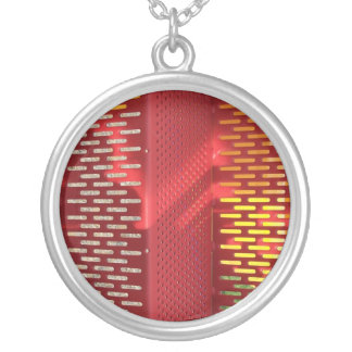 Faded Red and yellow steel staircase abstract Round Pendant Necklace
