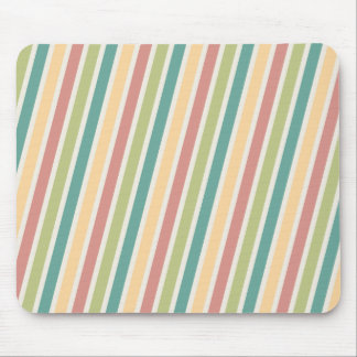 Faded Red Green Yellow Stripes Mouse Pad