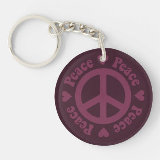 Faded Red Peace Sign Keychain