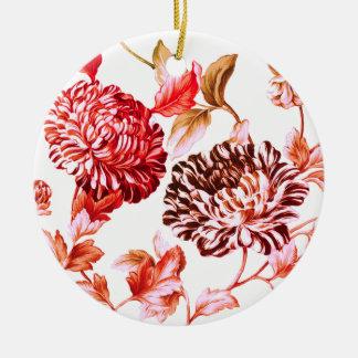 Faded Rose Garden Botanical Floral Ceramic Ornament