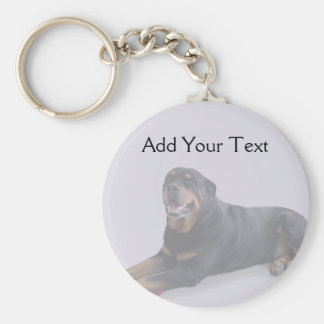 Faded Rottweiler Laying Down on Grey Key Chains