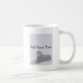 Faded Rottweiler Laying Down on Grey Mug