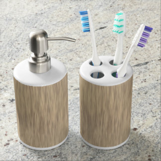 Faded Rough Wood Texture Toothbrush Holder Set