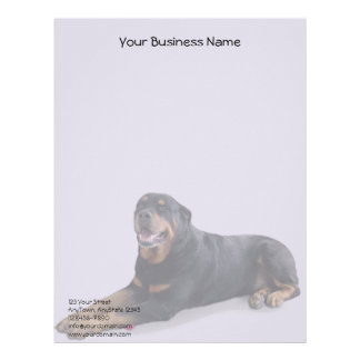 Faded Smiling Rottweiler Laying Down on Grey Letterhead