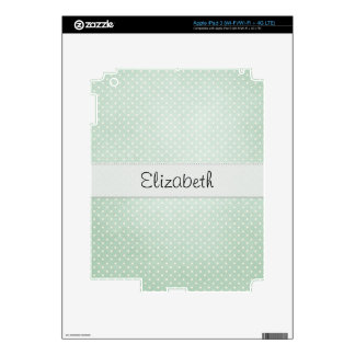 Faded Soft Green Polka Dots Stitched Vellum Decal For iPad 3